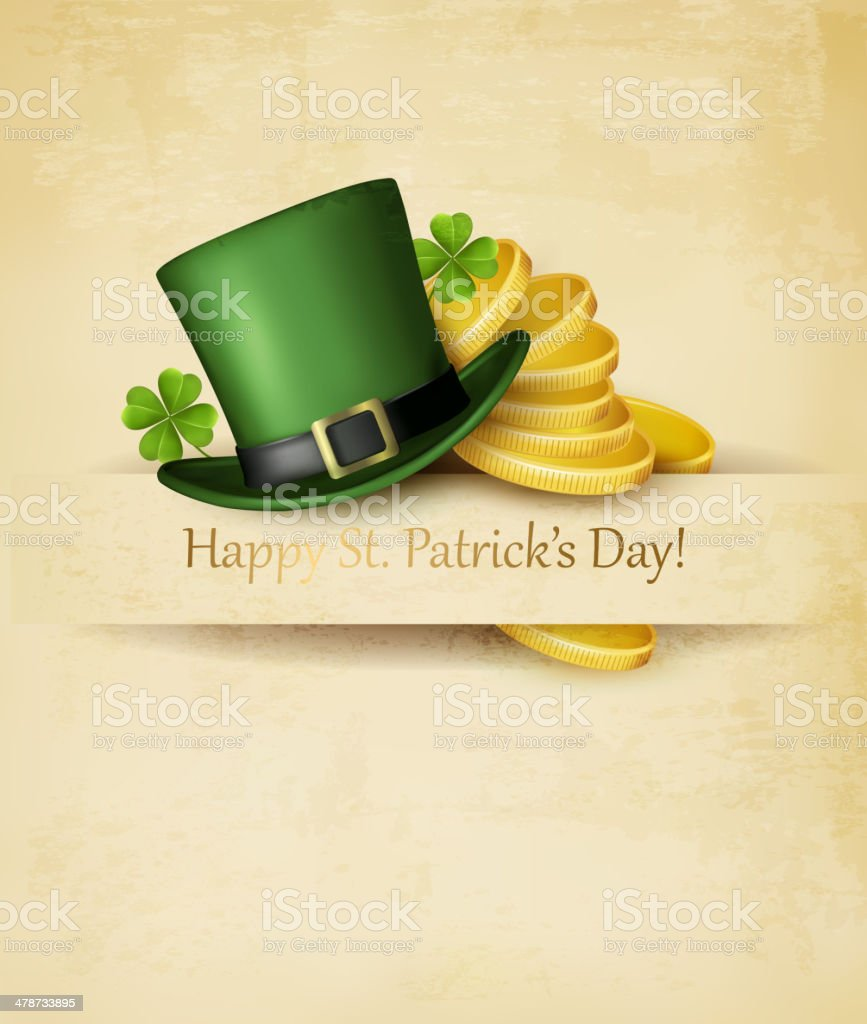 Saint Patrick's Day background with clover leaves, green hat and royalty-free stock vector art