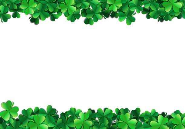 Saint Patricks day background with sprayed green clover leaves or shamrocks Saint Patricks day background with sprayed clover leaves or shamrocks shamrock stock illustrations