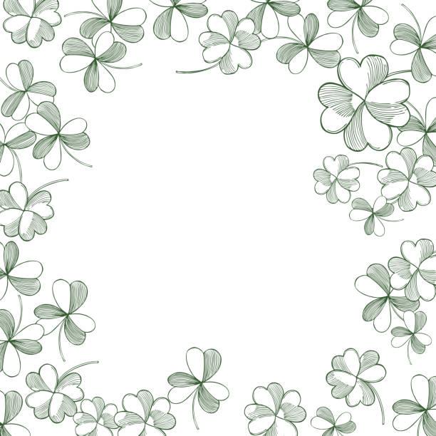 tło dnia świętego patryka z zieloną koniczyną. - four seasons stock illustrations