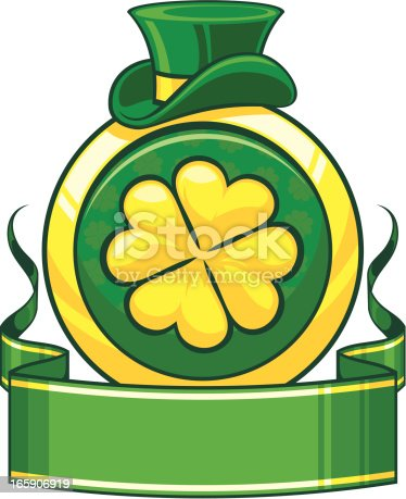 Saint Patrick`s day banner with gold lucky clower.