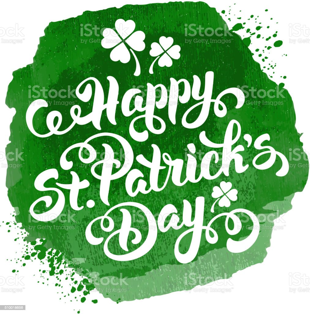 Saint Patricks Day Calligraphic Design vector art illustration