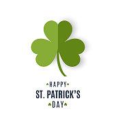 Saint Patrick's Day card paper clover. Vector illustration. EPS10