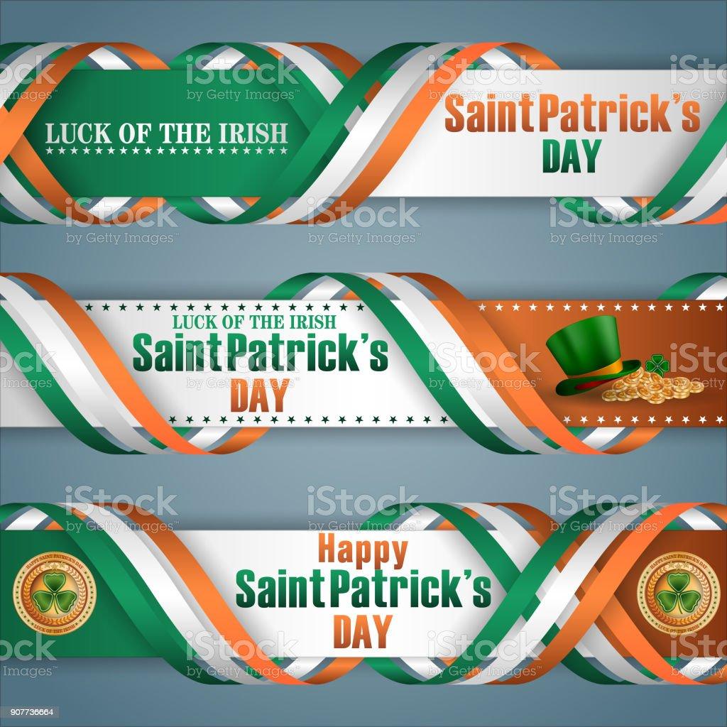 Celebración del día de San Patricio, banners de web - ilustración de arte vectorial