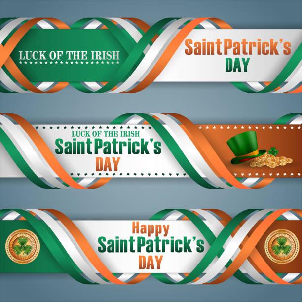 ilustraciones, imágenes clip art, dibujos animados e iconos de stock de celebración del día de san patricio, banners de web - bandera irlandesa