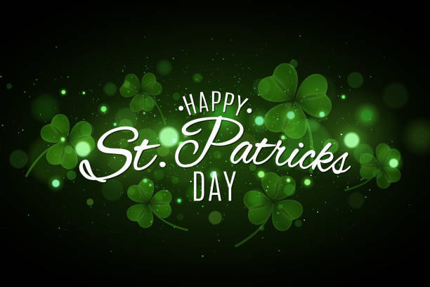 Saint Patrick's day cover. Green glowing clovers with glares bokeh. Festive lettering for your design. Abstract glitter. Vector illustration. EPS 10 Saint Patrick's day cover. Green glowing clovers with glares bokeh. Festive lettering for your design. Abstract glitter. Vector illustration st patricks day stock illustrations