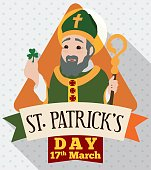 Saint Patrick's Day Design in Flat Style with Irish Apostle