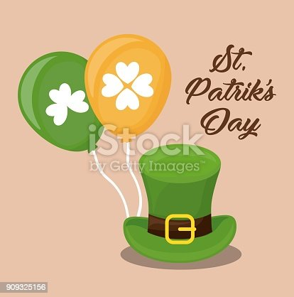 saint patricks day design with leprechaun top hat and balloons over orange background colorful design vector illustration