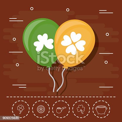icon and st patricks day related icons over brown background colorful design vector illustration