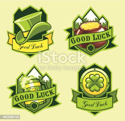 Saint Patrick`s day emblems set (each emblem on separate layer).