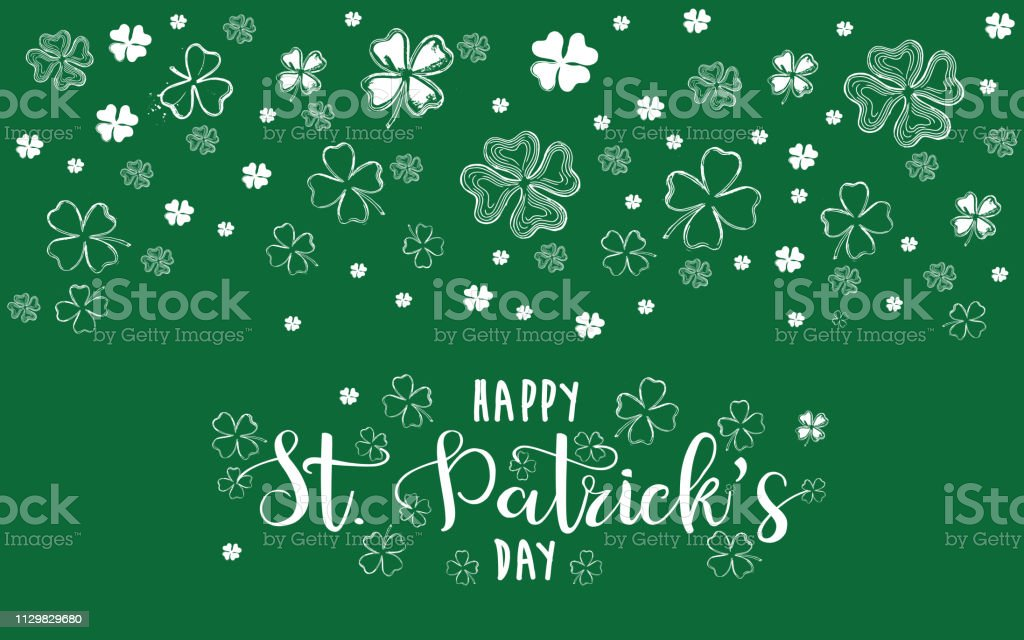 Saint Patricks Day, festive background with flying clover