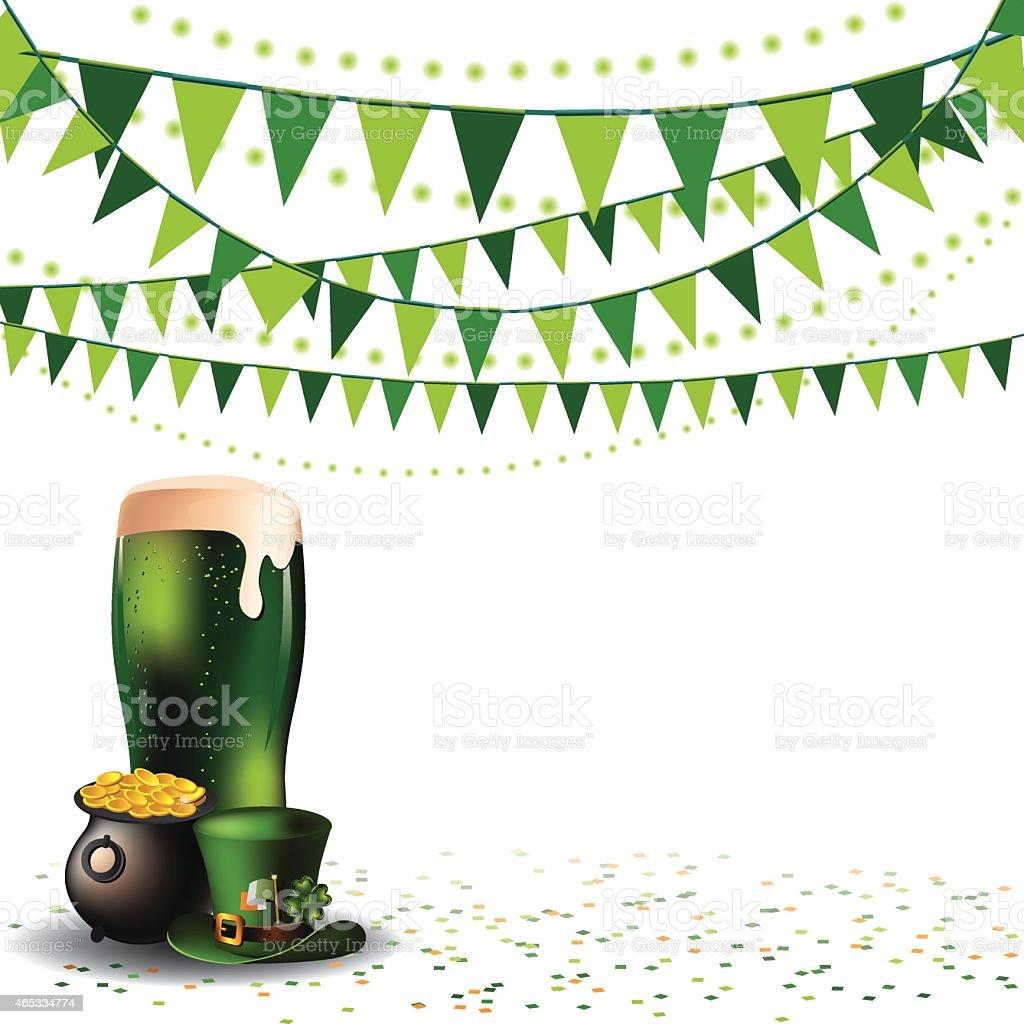 Saint Patricks Day green beer party background vector art illustration
