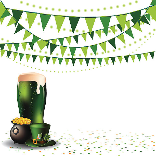 Saint Patricks Day green beer party background vector art illustration
