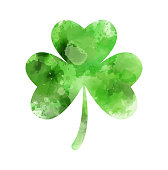 Saint Patrick's day - Irish holiday symbol. Abstract watercolor green clover leaf.