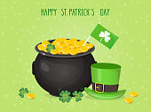 """Vector illustration with clover and text """"Happy St. Patricks Day""""."""