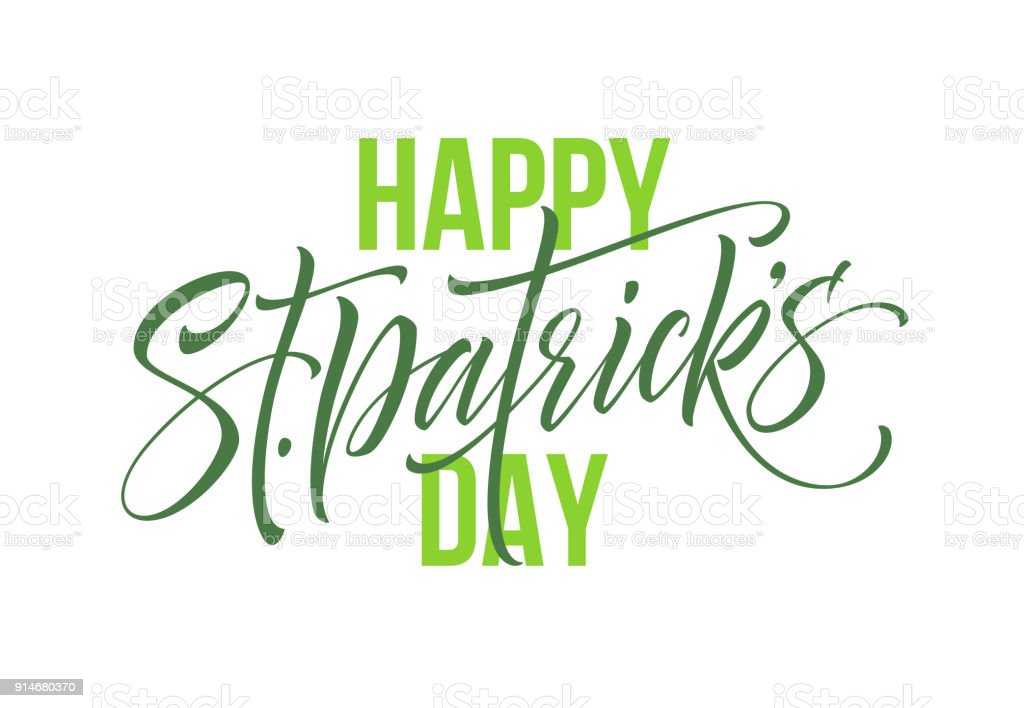 Saint Patrick's Day greeting lettering design element. Vector Illustration vector art illustration