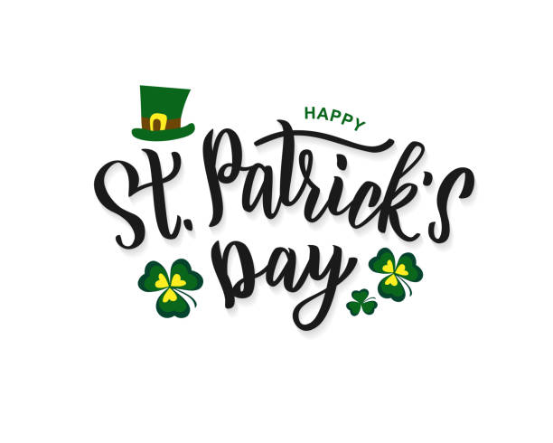 ilustraciones, imágenes clip art, dibujos animados e iconos de stock de manecilla del día de san patricio letras texto symboltype, tarjeta, plantilla de la bandera. ilustración vectorial para el diseño de celebración irlandesa. - día de san patricio