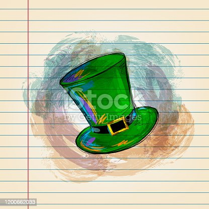 istock Saint Patrick's Day Hat Drawing on Ruled Paper 1200662033