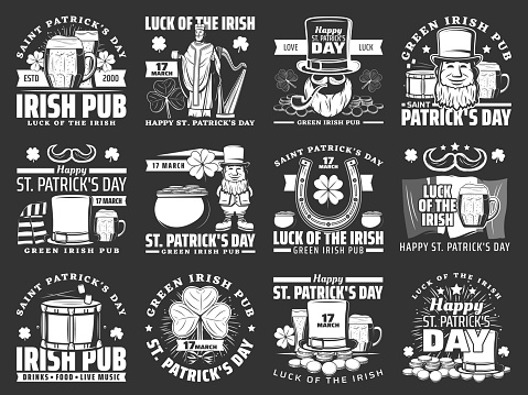 Saint Patricks day, holiday vector symbols
