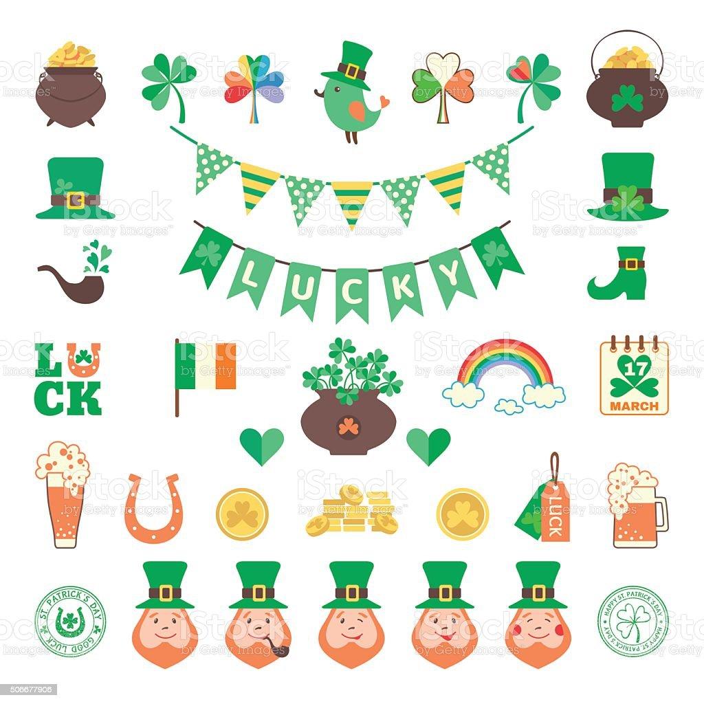 Saint Patrick's day icon set in flat style vector art illustration