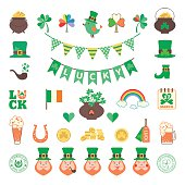 Saint Patrick's day icon set in flat style