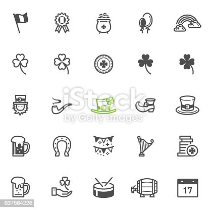 Saint Patrick's Day icons with White Background