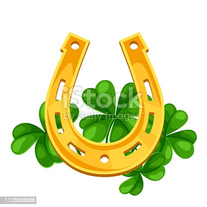 Saint Patricks Day illustration. Horseshoe with clover. Irish festive national items.