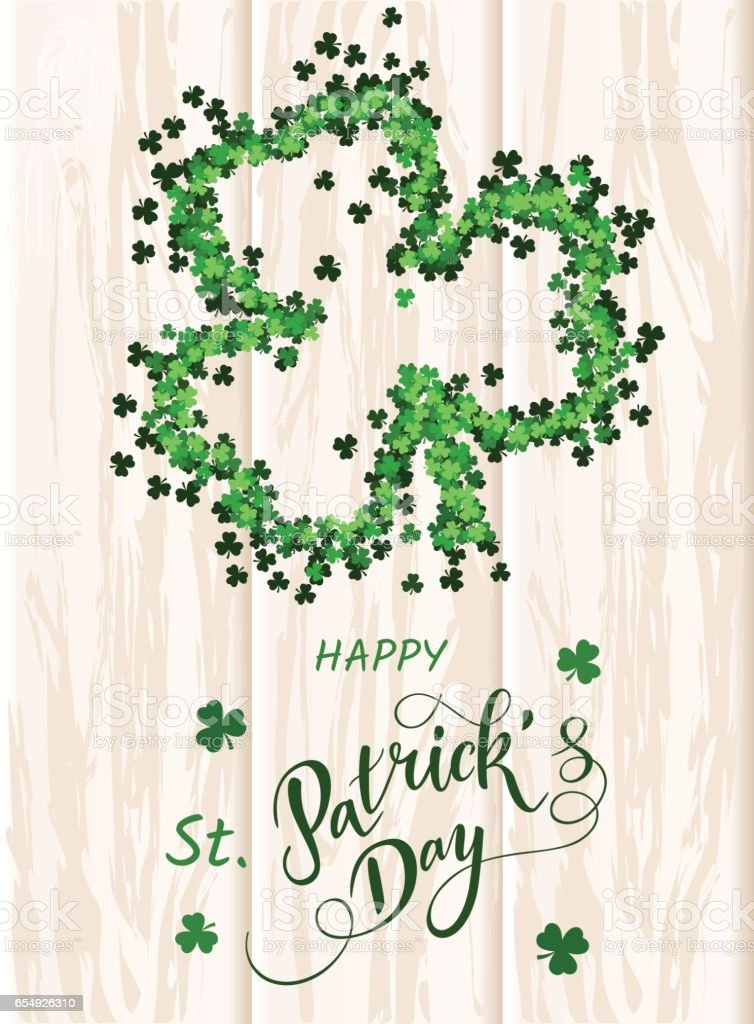 Saint Patrick's Day invitation card, clovers background, lettering, spring holidays. Vector Illustration EPS10 vector art illustration