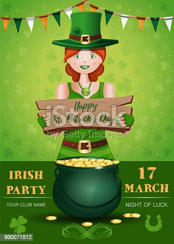 Saint Patricks Day invitation poster design with cute redheaded irish girl. Happy St. Patricks Day. Vector illustration