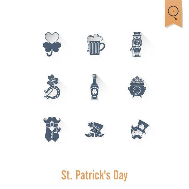 Saint Patricks Day Isolated Icon Set vector art illustration