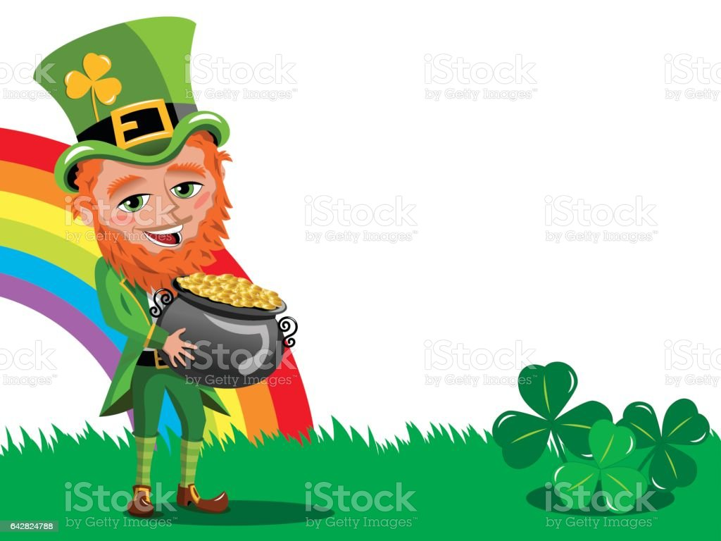 Saint Patricks Tag Kobold Holding Pot Of Gold Rahmen Isoliert Vektor ...