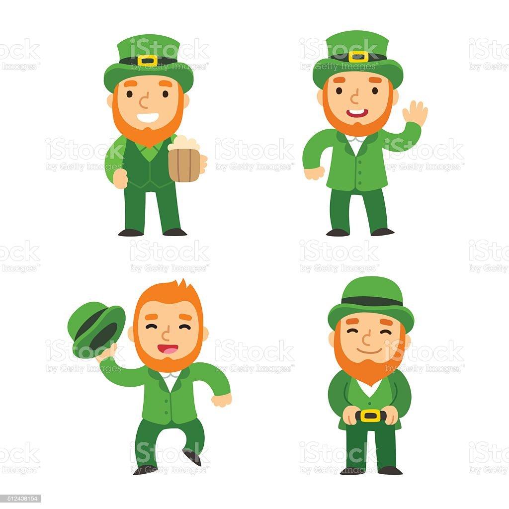 Saint Patricks Day leprechauns vector art illustration
