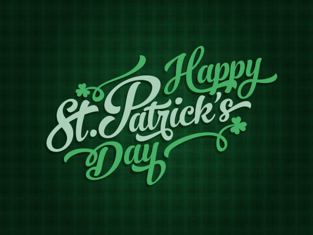 Saint Patrick's day lettering poster template Irish lucky Saint Patrick's day text label design elements on green background st patricks day stock illustrations