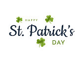 Saint Patrick's Day lettering with watercolor clover. Vector illustration. EPS10