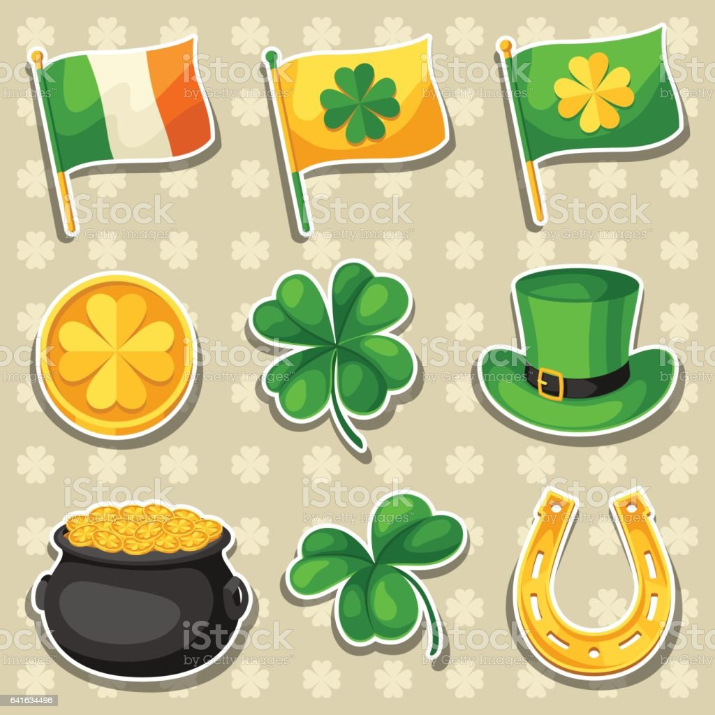 Saint Patricks Day objects. Flag Ireland, pot of gold coins, shamrocks, green hat and horseshoe vector art illustration