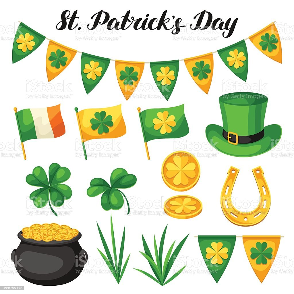 saint patricks day objects flag ireland pot of gold coins stock