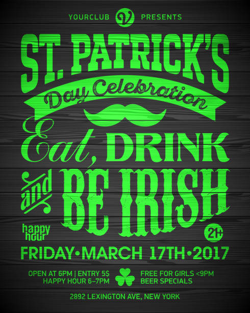 Saint Patrick's Day party celebration poster design vector art illustration