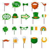 Saint Patrick's day Photo Booth Elements Isolated on White Background. Vector illustration.