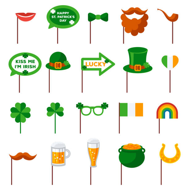 6a22f18bc Saint Patrick's day Photo Booth Elements vector art illustration