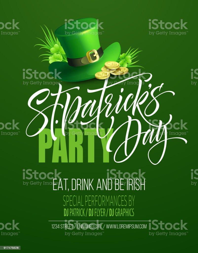 Saint Patrick's Day Poster Design Background. Calligraphic Lettering Inscription Happy St Patricks Day. Vector Illustration vector art illustration