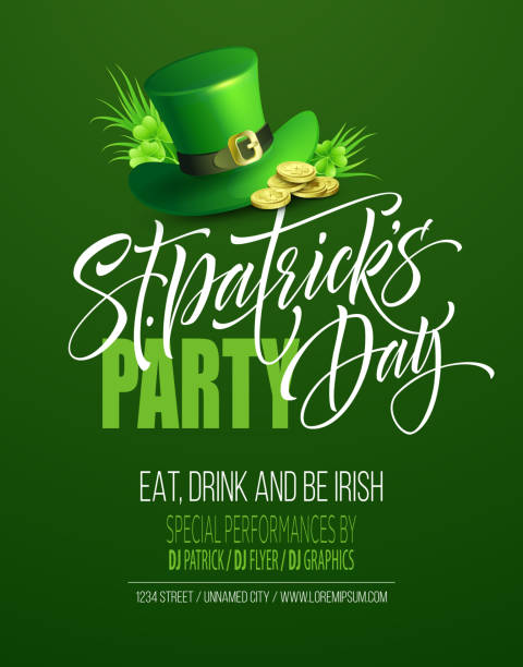 Saint Patrick's Day Poster Design Background. Calligraphic Lettering Inscription Happy St Patricks Day. Vector Illustration vector art illustration