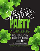 Saint Patrick's Day Poster Design Background. Calligraphic Lettering Inscription Happy St Patrick's Day. Vector Illustration EPS10