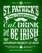 Saint Patrick's Day, Feast of Saint Patrick celebration poster design. Eat, drink and be Irish, 17 March nightclub party invitation with vintage lettering on wooden background, vector illustration