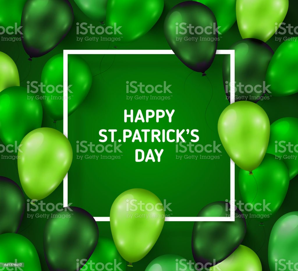 Saint Patrick's Day Poster with Balloons vector art illustration