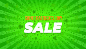 Saint Patrick's Day sale widescreen poster. Bright green rays background, lot of clovers. St. Paddy's backdrop template. Comics, pop art style.