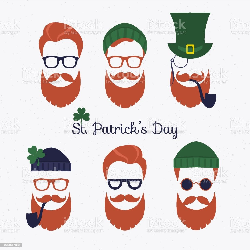 f7b3801c47c Saint Patricks Day Set Of Characters Leprechaun With Green Hat Red ...