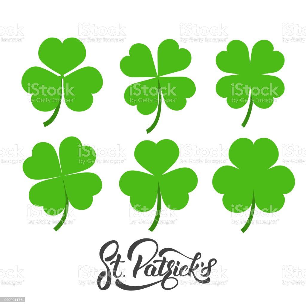 Saint patricks day set of irish clovers shamrock leaves st patricks set of irish clovers shamrock leaves st patricks day biocorpaavc Gallery