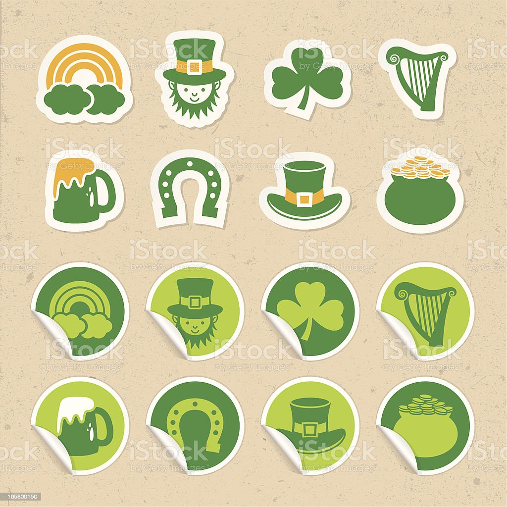 Saint Patrick's Day Sticker Icons royalty-free saint patricks day sticker icons stock vector art & more images of backgrounds
