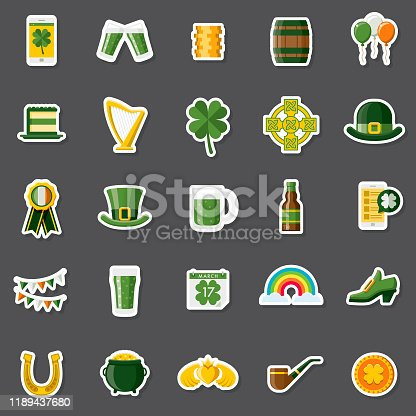 A set of flat design icons in a sticker type format. File is built in the CMYK color space for optimal printing. Color swatches are global so it's easy to edit and change the colors.