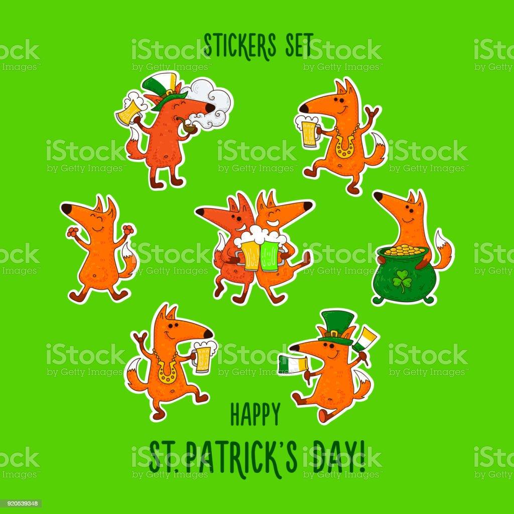 Saint Patricks Day Stickers Set With Foxes And Irish Simbols Stock