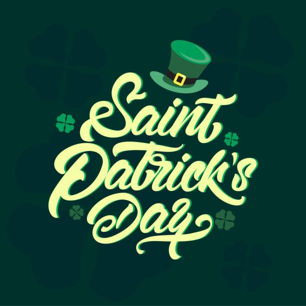 St. Patricks Day Symboltype. St.Patricks Day Feier Design im Stil-Schriftzug. Hand gezeichnet St.Patricks Day-Symbol. Beer Festival Dekoration Abzeichen – Vektorgrafik